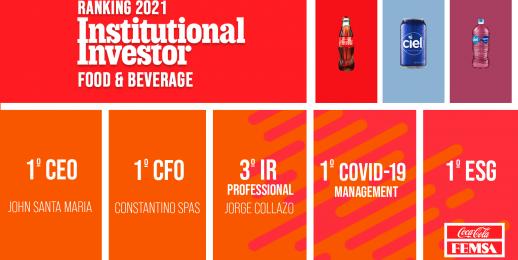 Coca-Cola FEMSA continúa fortaleciendo sus relaciones con inversionistas al ser una de las Compañías más premiadas del Sector Alimentos y Bebidas de acuerdo al ranking 'Institutional Investors 2021'.